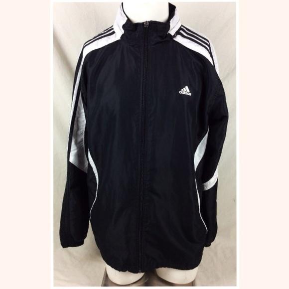 Adidas 3 Stripe Track Jacket Black White Large